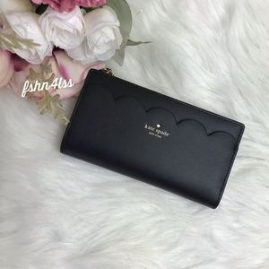 Kate Spade Braylon Magnolia Black Scalloped Wallet